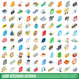 100 studio icons set, isometric 3d style. 100 studio icons set in isometric 3d style for any design vector illustration royalty free illustration