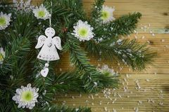 Christmas photography picture with tree branches and angel with love heart decoration and white winter flowers sprinkled with snow. Studio image on natural wood Royalty Free Stock Photo
