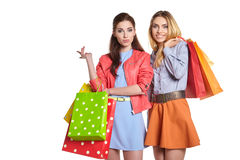 Studio image of two beautiful young women Stock Photo