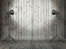 Studio In Old Wooden Room Royalty Free Stock Photos