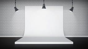 Studio interior with white backdrop Stock Image