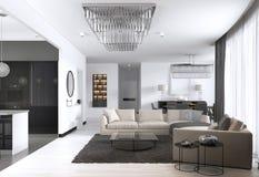 Studio interno dell'appartamento spazioso con stile scandinavo, pranzare e la cucina della parete bianca royalty illustrazione gratis