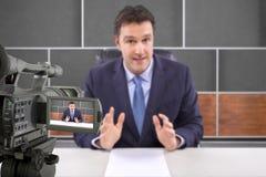 Studio-Kamera-Schmierfilmbildungs-Reporter stockfoto