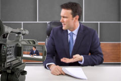 Studio-Kamera-Schmierfilmbildungs-Reporter stockfotos