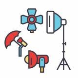 Studio léger de photo, matériel d'éclairage, concept de photographe Photographie stock libre de droits