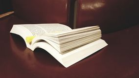 Studio/libro educativo sulla sedia di Brown immagine stock