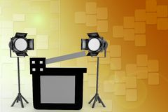 Studio light ,movie clapper on a film reel illustration Royalty Free Stock Photos