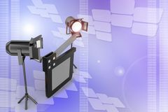 Studio light ,movie clapper on a film reel illustration Stock Images