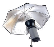 Studio lighting. Studio flash isolated on white royalty free stock photo
