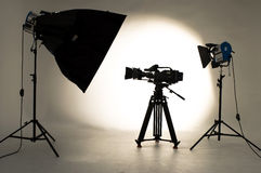 Studio Lighting. Searchlight and silhouette of the chamber Stock Images