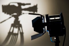 Studio Lighting. Searchlight and silhouette of the chamber Stock Photography