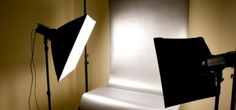 Studio lighting with background. Studio lighting soft boxes and background ready for shooting stock photography
