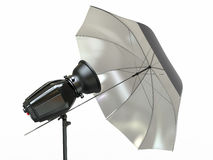 Studio lighting equipment. Flash and umbrella Royalty Free Stock Photos