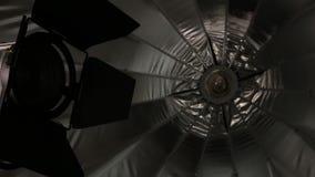 Studio lighting equipment. Flash and umbrella. 3d stock footage