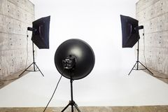 Studio lighting equipment, 2 Soft box and 1 Soft Light. Studio lighting equipment with 2 Soft box and 1 soft light and white background stock images