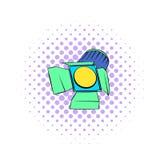 Studio lighting icon, comics style. Studio lighting icon in comics style on a white background Royalty Free Stock Photography