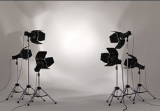 Studio Lighting Spotlight on wall Royalty Free Stock Photos