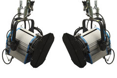 Studio lighting stage equipment isolated over white Stock Photos