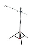 Studio lighting. Tripod with support for studio light reflector, isolated on white background stock photography