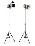 Studio lighting on tripod on a white. 3d. Stock Photos
