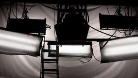 Studio lights. Lighting equipment of TV studio stock photos