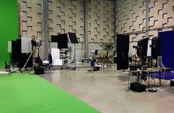 Studio in Luxembourg. Greenroom in films studio , Films land in Luxembourg Stock Photos