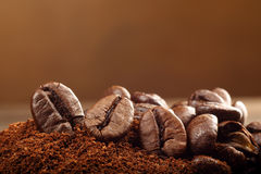 Studio macro coffee beans on the brown background Royalty Free Stock Photography