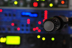 Studio Microphone. Dynamic Microphone in the Studio royalty free stock photography