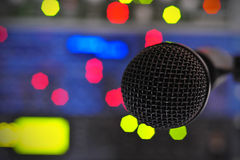 Studio Microphone. Dynamic microphone in the studio royalty free stock photo