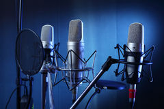 Studio microphone. In recording sound studio Royalty Free Stock Photography