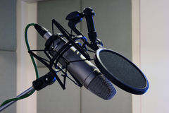 Studio microphone. On stand with pop filter stock photography
