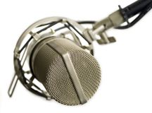 Studio microphone. Isolated (view from the top Royalty Free Stock Photo