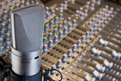 Studio microphone. And mixing console stock photography
