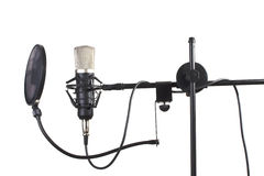 Studio microphone. On a stand on white background Stock Photo