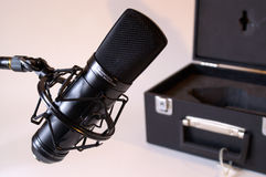 Studio microphone. This image was created to sale for auction with not much depth of field. A product-publicity-image as it were. The microphone is sell but the stock photography