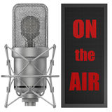 Studio Microphone with on air sign, for broadcasting Stock Photo