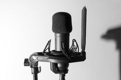 Studio microphone. B&W, high contrast stock images