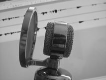 Studio Microphone in Black & White. Studio microphone in action. Black & White image Royalty Free Stock Image