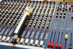 Studio microphone and editing suite. Electronics, communication. Modern studio microphone,Radio studio detail: microphone and mixer Royalty Free Stock Photos