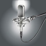 Studio Microphone  on a Gray background Stock Photos
