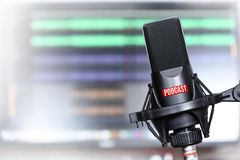 Studio microphone with a podcast icon. Close up Royalty Free Stock Photography