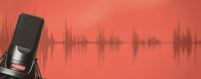 Studio microphone for recording podcasts. Over color background with sound wave royalty free stock images
