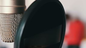 Studio microphone in recording studio close up view. Studio microphone in a recording studio close up view stock video