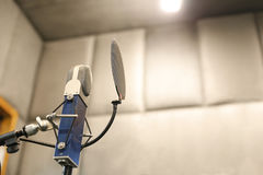 Studio microphone. In studio room for voice record Royalty Free Stock Image