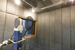 Studio microphone. In studio room for voice record Royalty Free Stock Photography