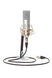 Studio microphone on stand. Isolated on white background stock image
