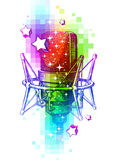 Studio microphones on a multicolored background. Colorful design with hand drawn studio microphones Stock Image