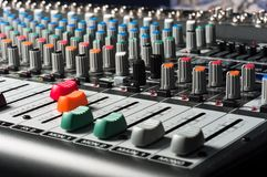 Studio mixer. With sliders and buttons stock photos