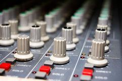 Studio Mixer. Closeup of a studio mixer Stock Photography