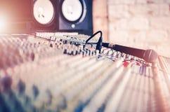 Studio Mixer and Microphone Royalty Free Stock Photos